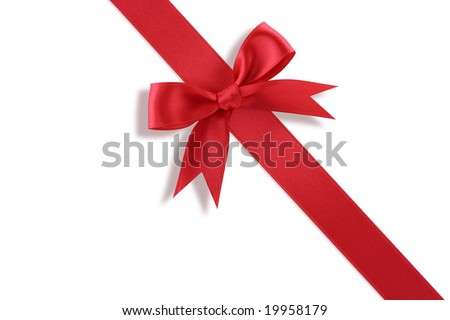 Diagonal red gift bow  on white background - stock photo