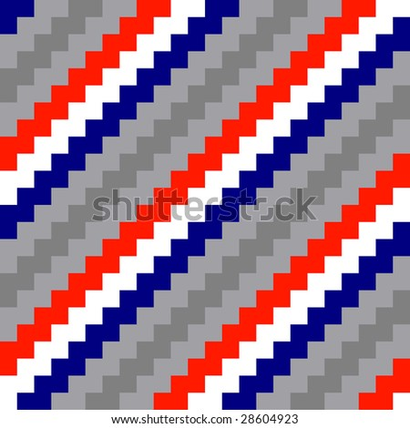 Diagonal seamless grey, red, blue and white striped background - stock photo