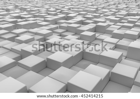 Diagonal surface made of cubes. Abstract background. 3d render