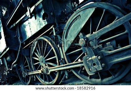 diagonal train detail - stock photo