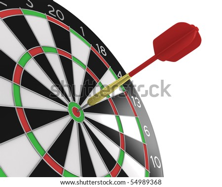 Diagonal view of Dart stuck in a board - stock photo