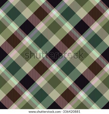 Diagonally checkerboard in brown green colors - computer generated seamless pattern - stock photo