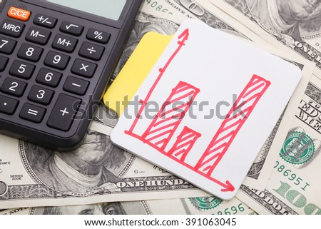 Diagram and calculator on money background