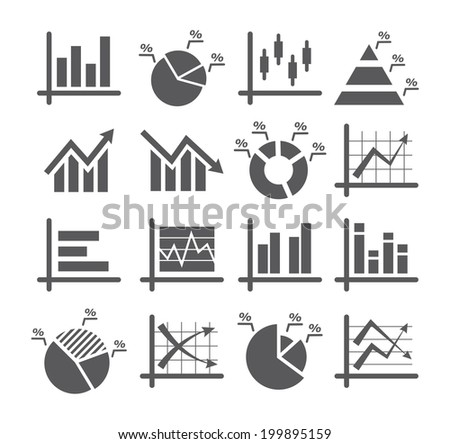 Diagram and graphs icons - stock photo