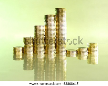 diagram consisting of piles of coins, denotes the growth and decline