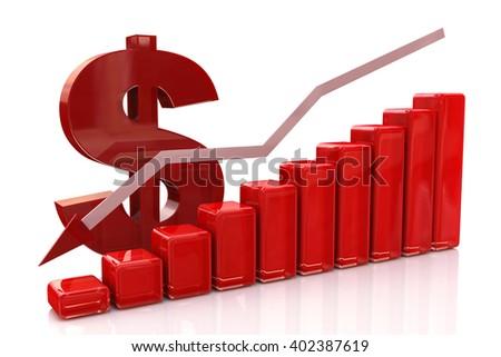 diagram decline dollar.3D Illustration - stock photo