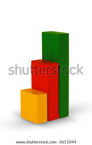 Diagram made from children's blocks. (with clipping path) - stock photo