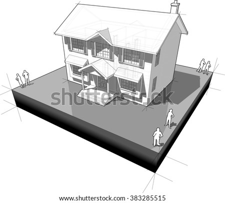 diagram of a classic colonial house  - stock photo