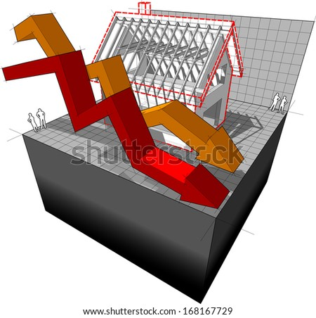 diagram of a detached house under construction with two falling business diagram arrows  (another house diagram from the collection, all have the same point of view/angle/perspective, easy to combine) - stock photo