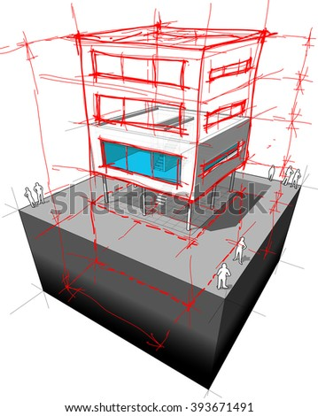 diagram of a possible  modern house redesign  adding two extra stories and basement