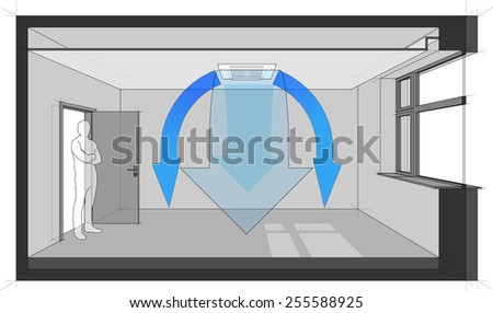 Diagram of a room cooled with air conditioner built in a suspended ceiling - stock photo