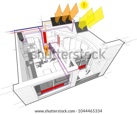 Diagram Apartment Hot Water Radiator Heating Stock Illustration ...