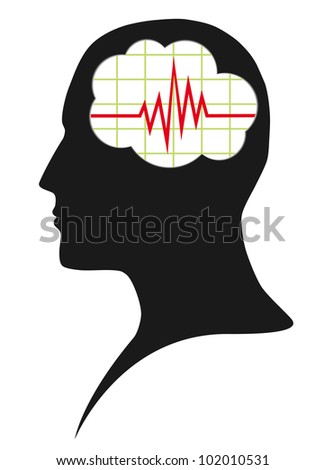 Diagram of brain activity - stock photo