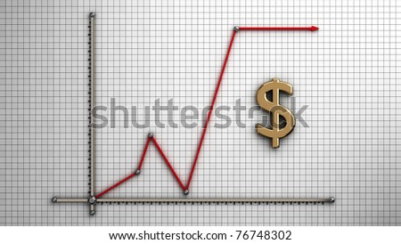 Diagram of business gold dollar isolate with clipping path - stock photo