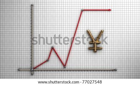 Diagram of business gold Yen - stock photo