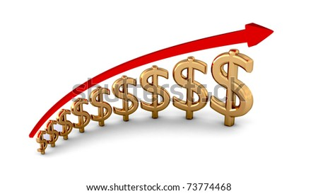 diagram of business success gold dollars isolated with clipping path - stock photo