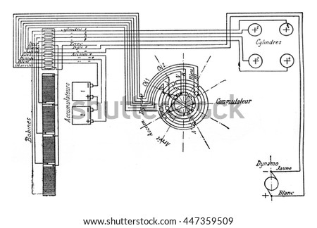 Electric circuit diagram stock images royalty free images diagram of electric ignition of a car in petroleum to 4 cylinders vintage engraved illustration malvernweather Choice Image