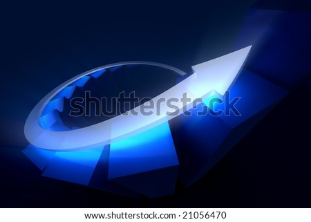Diagram of financial growth, a pointer flies up on a diagram. - stock photo