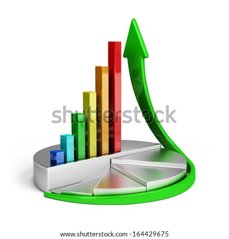 Diagram of financial growth. 3d image. White background. - stock photo