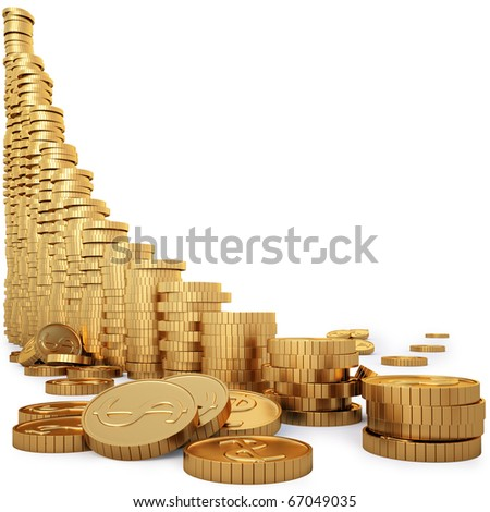 Diagram of golden coins isolated on white. - stock photo