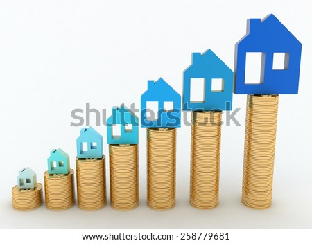Diagram of growth in real estate prices. 3d illustration on white background. - stock photo