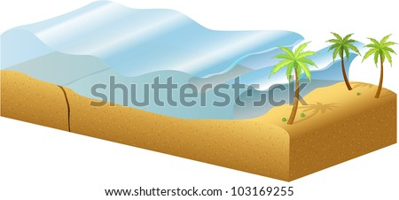 Diagram of how tsunamis are formed - EPS VECTOR format also available in my portfolio. - stock photo