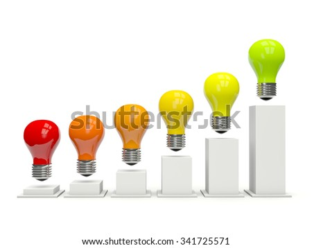 Diagram of light bulbs isolated on white - stock photo