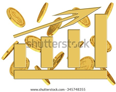 Diagram on a background of gold coins