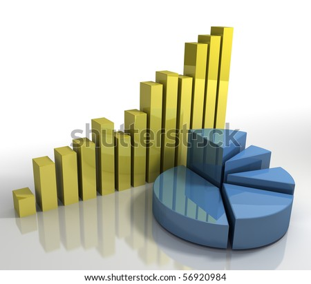 Diagram Pie Chart and Bar Charts Business Concept modern abstract corporate financial concept background - stock photo