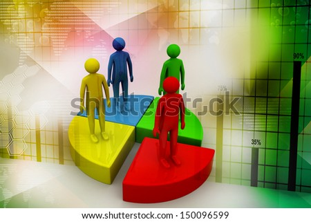 diagram with person symbol - stock photo