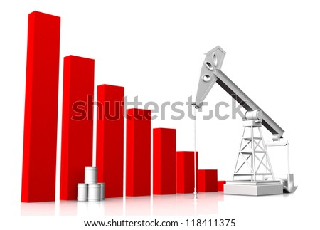 diagrams with oil rig - stock photo