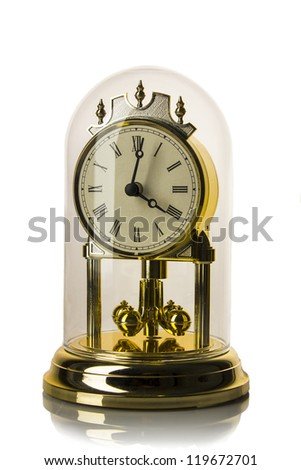 Dial of analog watch gold ornament. It is isolated on a white background