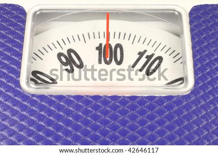 dial of dial-indicating scales shows 100 kg - stock photo