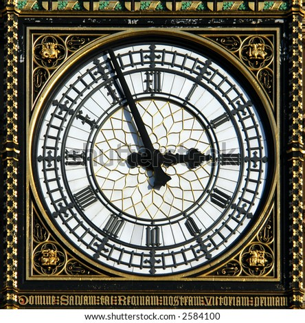 Dial of the Big Ben in London, UK - stock photo
