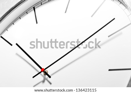 Dial office wall clock in a classic style, close-up - stock photo