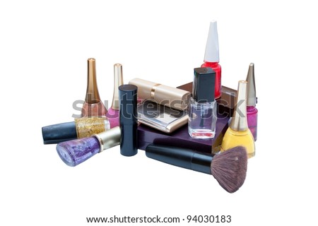 Dial-up of female cosmetics on a white background