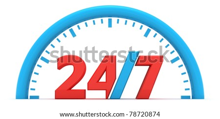 Dial with a sign on a round-the-clock operating mode - stock photo