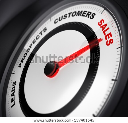 dial with red needle pointing on the word sales, concept image suitable for leads conversion purpose. - stock photo