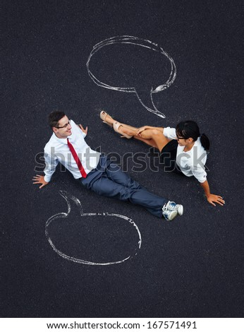 dialog concept: business people with speech bubbles - stock photo