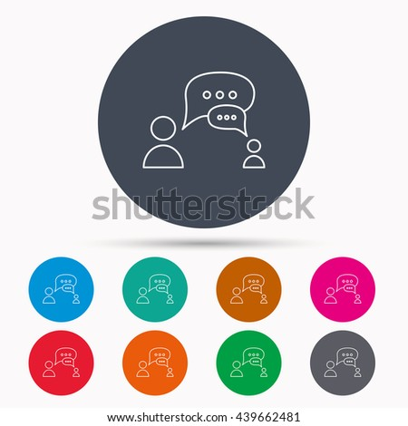 Dialog icon. Chat speech bubbles sign. Discussion messages symbol. Icons in colour circle buttons.  - stock photo
