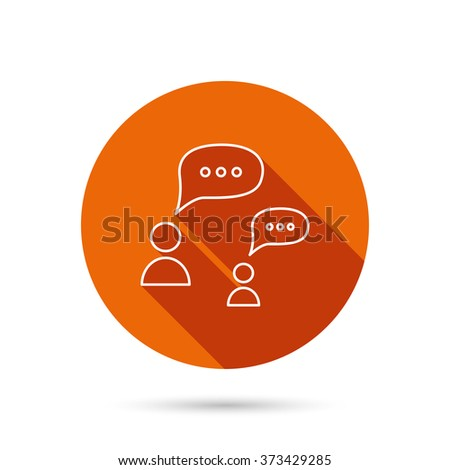 Dialog icon. Chat speech bubbles sign. Discussion messages symbol. Round orange web button with shadow. - stock photo
