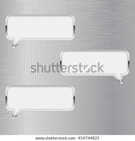 Dialog icons. Quote signs. Illustration on metal perforated background. Raster version - stock photo