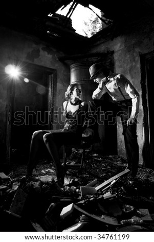 dialog of the gangsters - stock photo