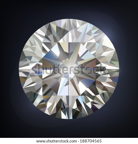 Diamomd isolated on dark background with shine. illustration