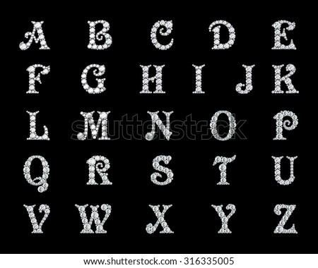 Z Alphabet In Diamond Diamond alphabet, letters from A to Z, - stock photo