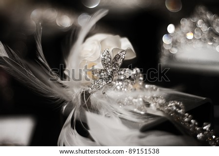 Diamond and Flower Wedding Head Piece - stock photo