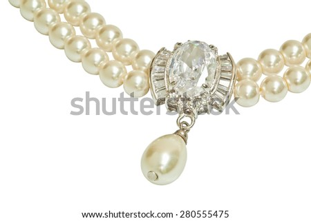 Diamond and pearl necklace isolated on white - stock photo