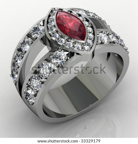 Diamond and ruby engagement wedding ring on white background