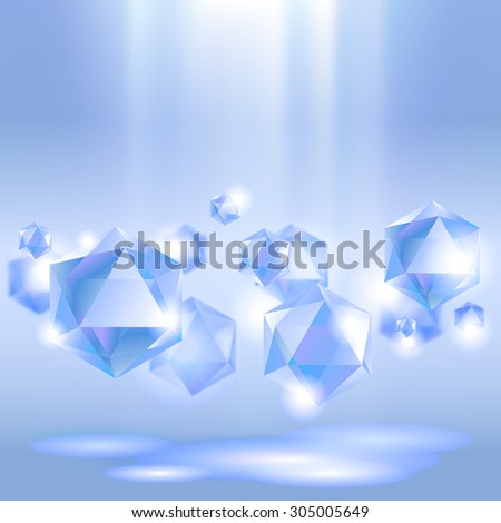Diamond background under blue light - stock photo