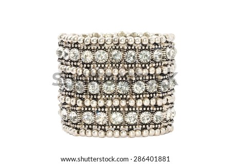 Diamond Bracelet Isolated on white background. Luxury Silver Armlet Jewelry Crystal - stock photo